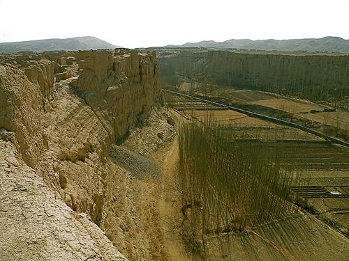 Uno de los cañones cultivados de Jiaohe